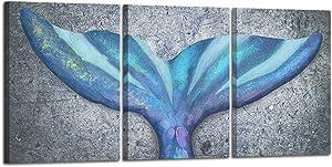 HOMEOART Mermaid Picture Bathroom Decor Blue Ocean Fish Whale Tail Painting Art Print Framed Artwork 12