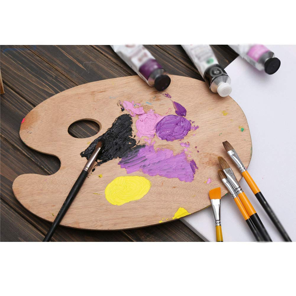 30 paleta de pintura al /óleo con forma ovalada de madera con orificio para pulgar para acuarela Paleta de pintura 0.5cm As Picture Show pintura al /óleo oval 20