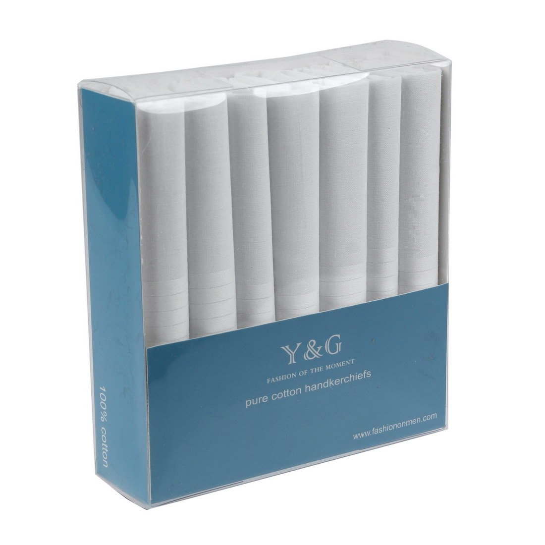 YEC0111 Fitted Accessories Mens White Solid Cotton Handkerchiefs Best Gift Giving 7 Pics Set One Size By Y/&G