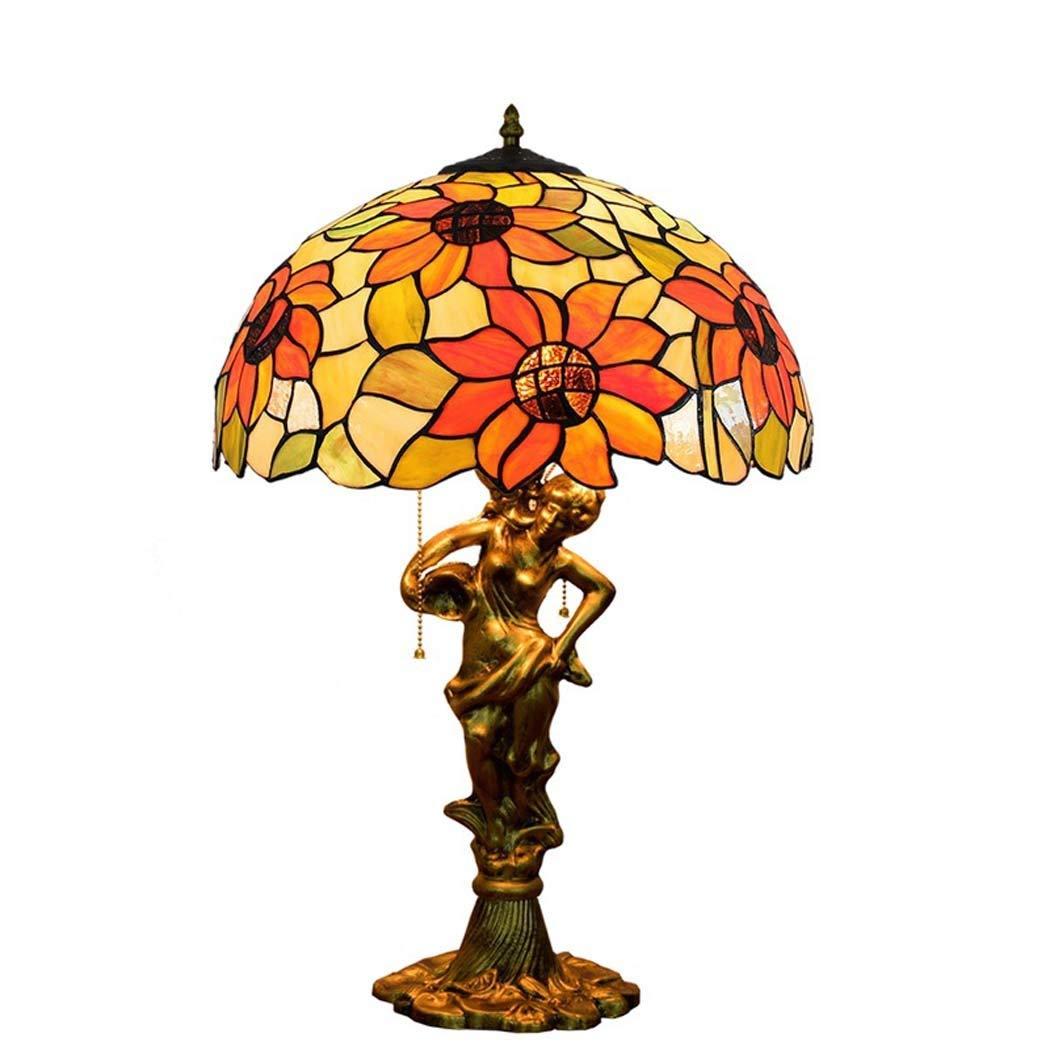 16インチティファニースタイルテーブルランプ、ステンドグラスのベッドサイドランプ、サンリビングルームの寝室 B07Q37WFRQ、人魚ベース用の太陽の花の装飾デスクランプ GAOLIQIN B07Q37WFRQ, 正栄作 曽根人形:94c28509 --- m2cweb.com