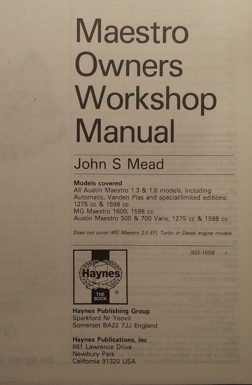 Austin, M.G.and Vanden Plas Maestro Owners Workshop Manual: John S. Mead:  9781850105190: Amazon.com: Books