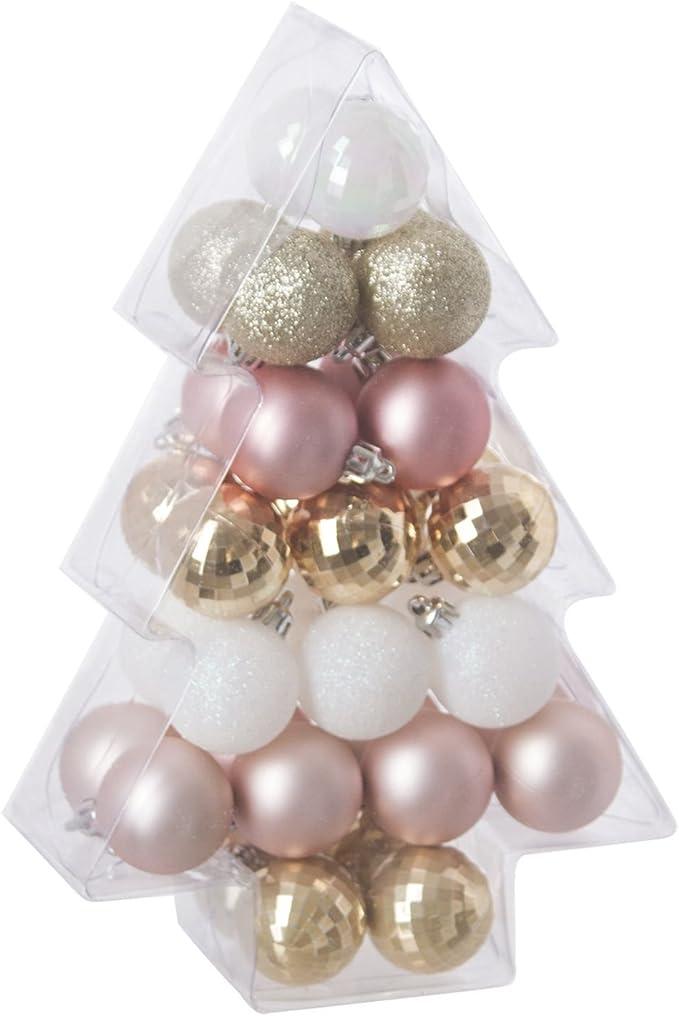 Albero Di Natale Bianco E Oro.Kit Decorativo Per Albero Di Natale 34 Pezzi Rosa Bianco E Oro Amazon It Casa E Cucina