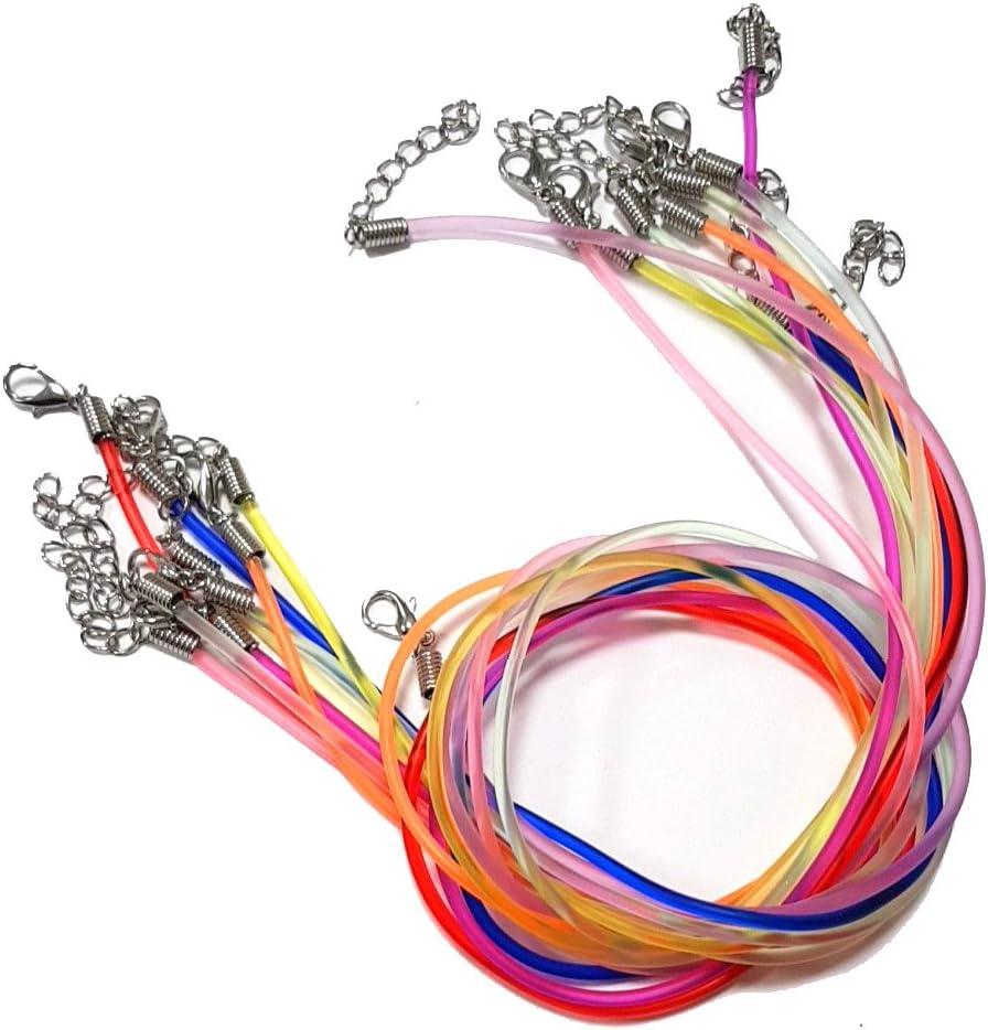 Perlin 10stk Collar Joyas Banda con Cierre de mosquetón de Piel sintética de latón Cadena 2mm 46cm Mix Neon Color Caucho Banda C144
