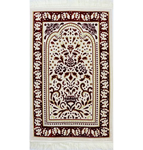 Turkish Carpet Designs - Islamic Janamaz Prayer Rug with Free Cap - Plush Velvet Muslim Namaz Seccade Turkish Prayer Mat Carpet Design (Red/White)