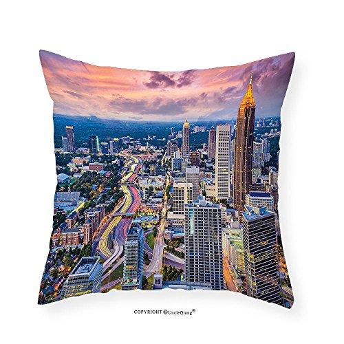 VROSELV Custom Cotton Linen Pillowcase Modern Atlanta City Skyline at Sunset with Hazy Light Georgia Town American View for Bedroom Living Room Dorm Baby Pink Blue Silver 16