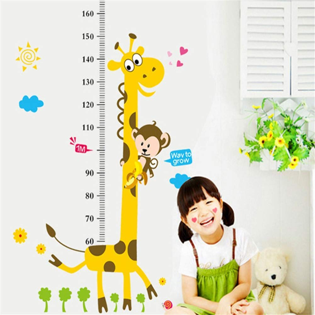 from 60cm-180cm JZTRADING Cute Animals Giraffe and Monkey Measuring Chart Height Chart for Kids Wall Sticker for Children Adult Removable Growth Chart