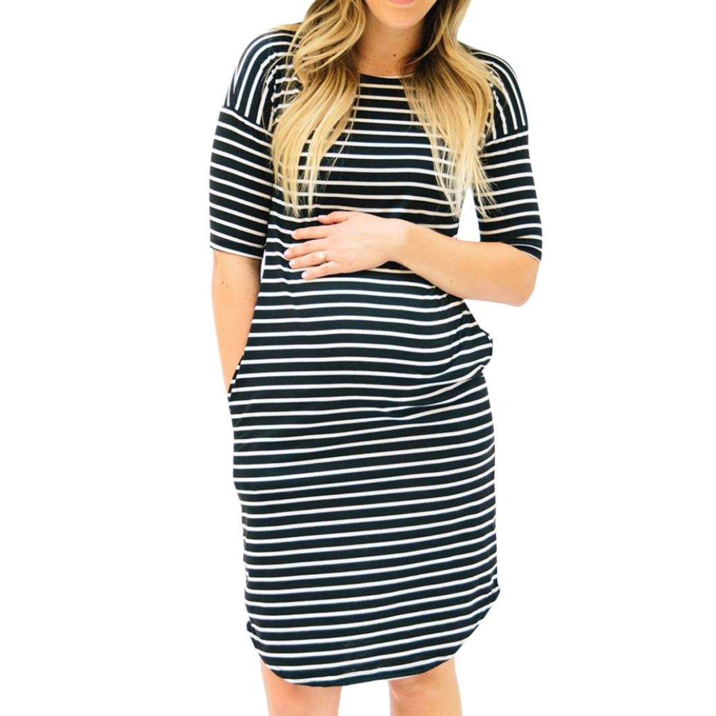 c67581a14e8 Minisoya Pregnant Women Stripe Dress Ladies Summer Half Sleeve Casual Party  Nursing Maternity Dress with Pockets at Amazon Women's Clothing store: