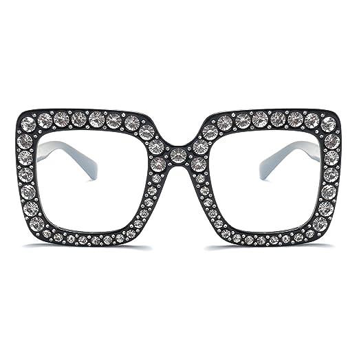 da2741201a51 Armear Women Rhinestone Sunglasses Oversized Square Clear Lens (Clear lens
