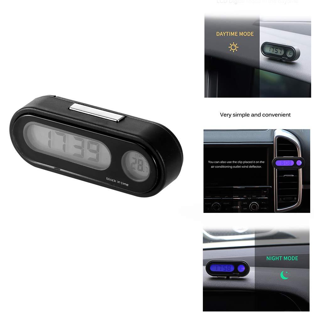 2 in 1 Fashion veicoli auto orologio digitale misuratore di temperatura con retroilluminazione a LED per auto universale