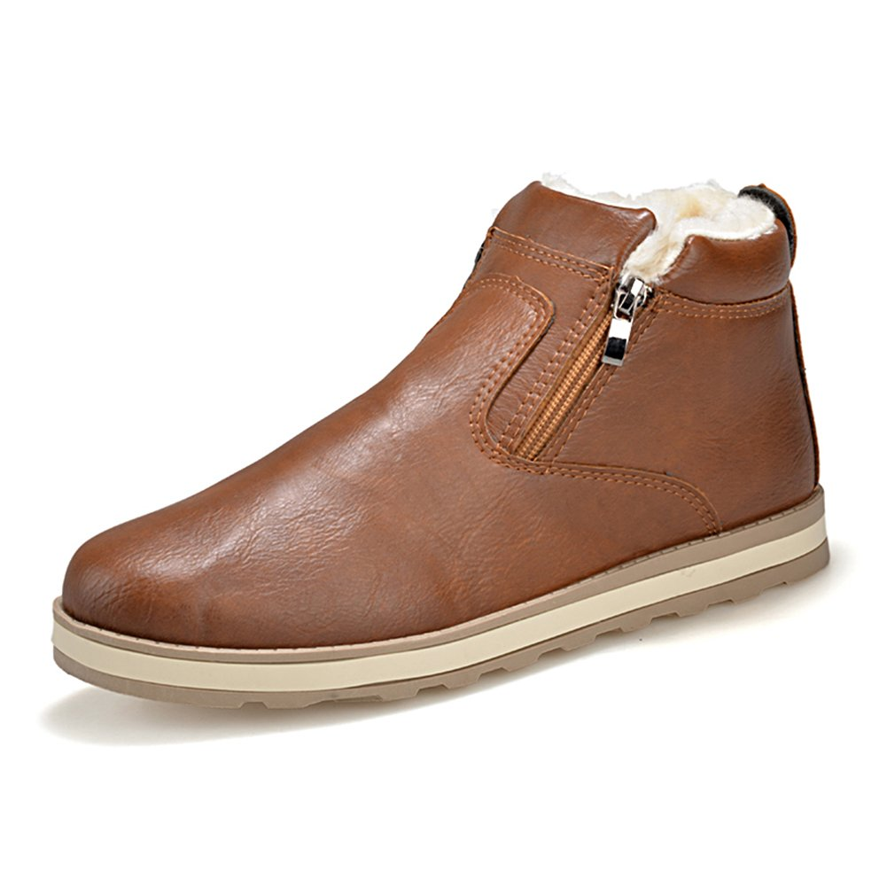 BomKin Herren Winter Leder Schneestiefel Warme Weiche Winterschuhe Ankle Braun  Boots Wasserdicht Reißverschluss Schuhe Braun Ankle 57e15b 0bbc0aec18