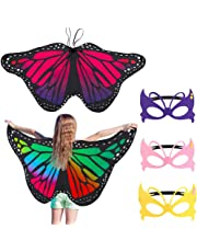 ae39ff410 FANTESI 2 Pcs Kids Butterfly Wings, Fairy Butterfly Cape Wings Costume  Butterfly Shawl and Mask