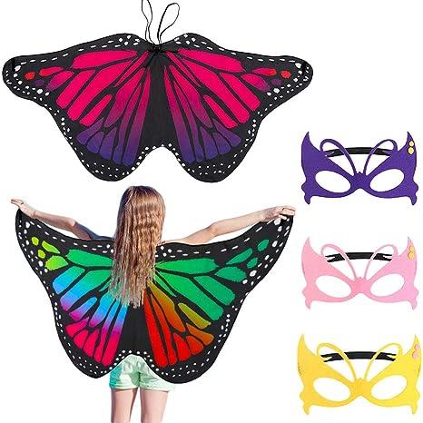 Garanzia di qualità al 100% prezzo più economico tessuti pregiati FANTESI 2 Pezzi Farfalla Ali, Costume Fata Butterfly Wings Farfalla Scialle  Carnival Accessori Costume Cosplay Bambini