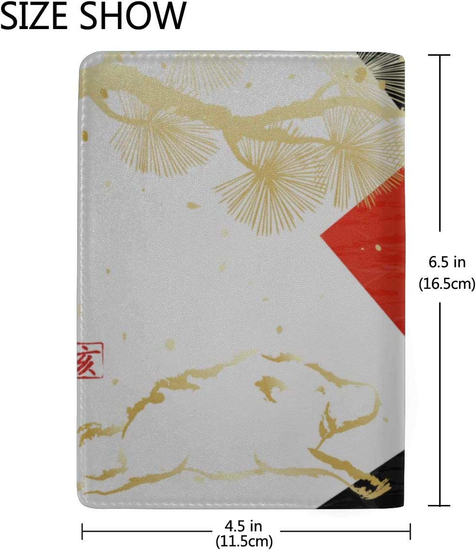 Passport Cover Set New Year Card With Pine And Wild Boar Stylish Pu Leather Travel Accessories Usa Passport Cover For Women Men