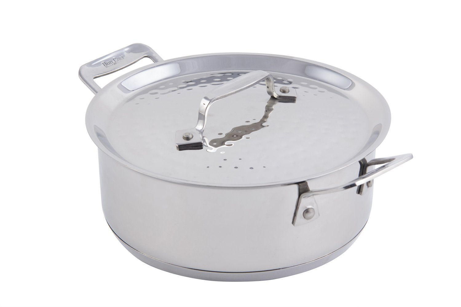 Bon Chef 60000HF Stainless Steel Induction Bottom Cucina Casserole with Lid, Hammered Finish, 3 quart Capacity, 11.4'' Length x 8.9'' Width x 4.7'' Height