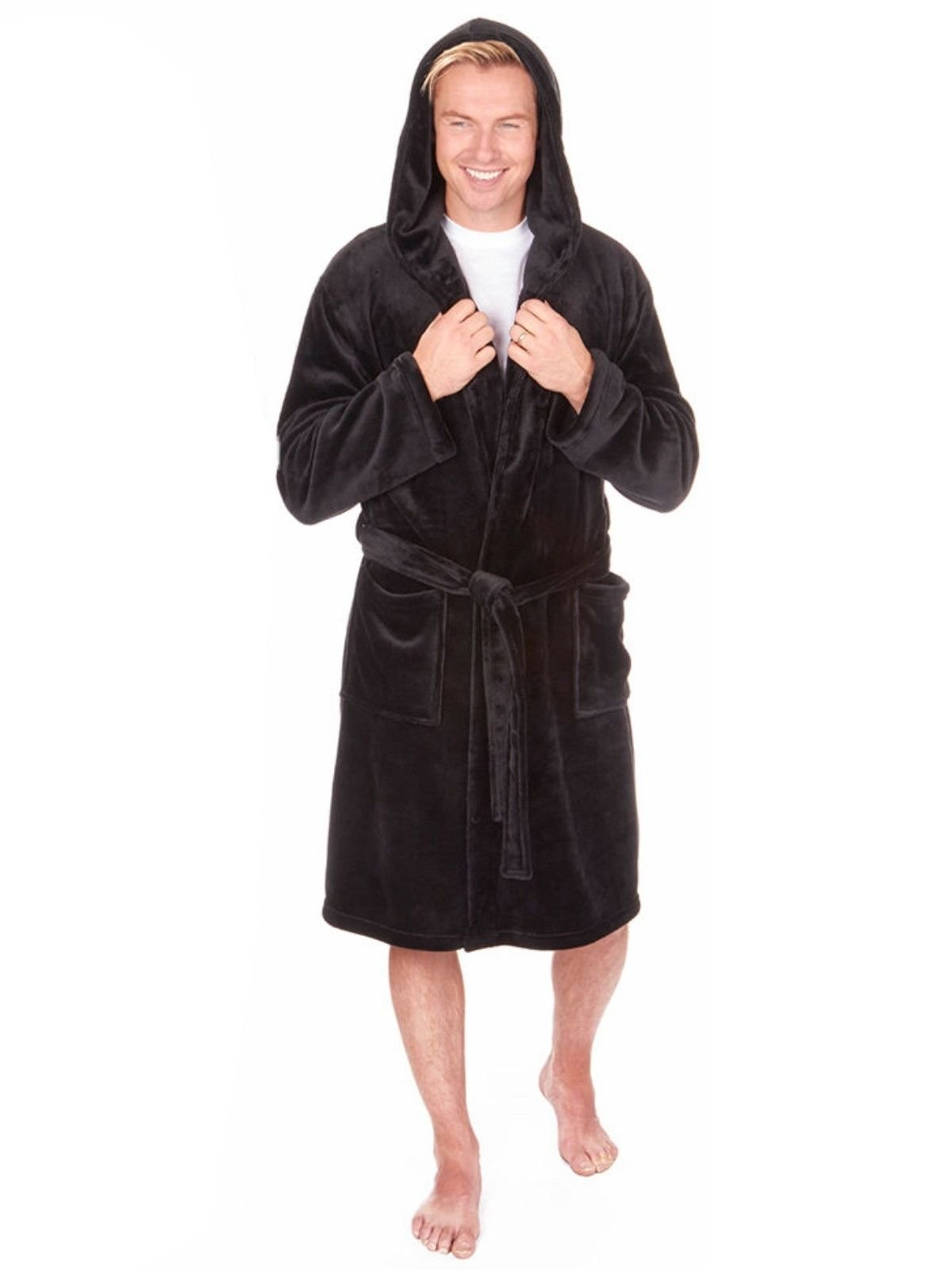 MICHAEL PAUL Mens Hooded and Non Hooded Soft Plain Dressing Gown