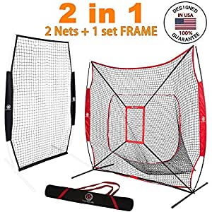 LuxSports 2 in 1 Practice Net and L-Screen(Protection Screen) for Baseball&Softball for Hitting, Pictching, Fielding and More, Commercial Grade Net Set with Strike Zone, Carrying Bag and Stakes