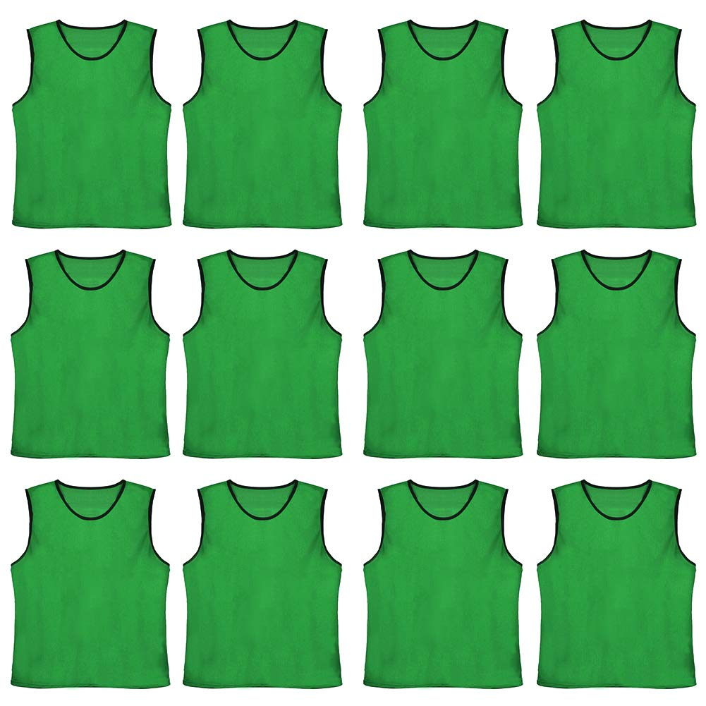 TOPTIE Numbered/Blank Scrimmage Team Practice Mesh Jerseys Vests Pinnies (12-Pack)-Forest Blank-Child by TOPTIE