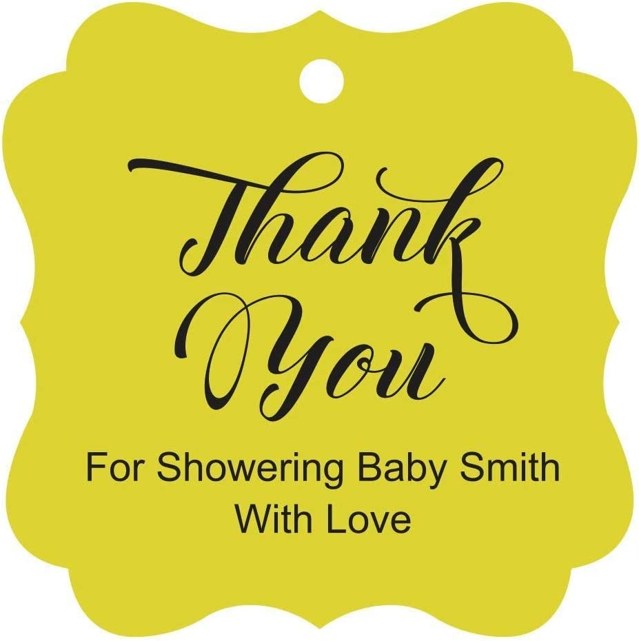 Darling Souvenir Baby Shower Thank you Favor Tags Custom Hang Gift Tags-Baby Blue-100 Tags