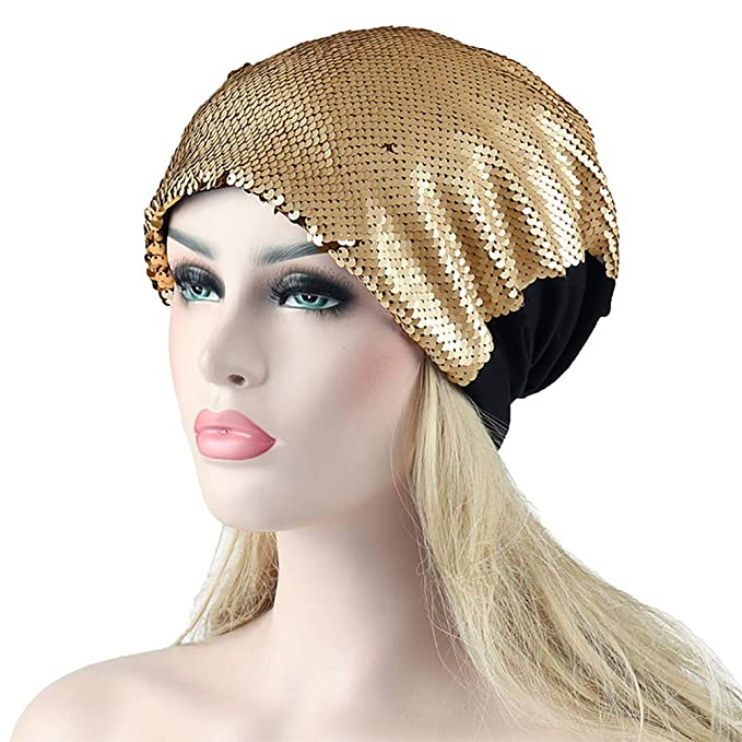 Hippie Hats,  70s Hats Orityle Women Fashion Sequins Breathable Hats Glitter Turban Beanies Headdress Cap for Girls Ladies $10.99 AT vintagedancer.com