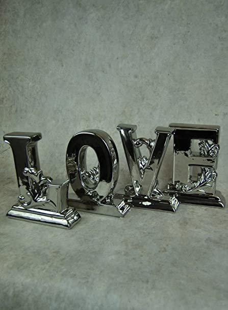 Four Seasons Large Chrome Silver LOVE Individual Letters Freestanding Statue Ornament Modern Contemporary Figurine