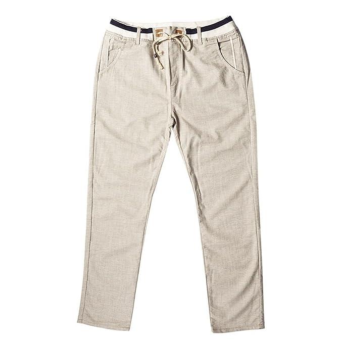 Stazsx Los Pantalones Ocasionales de los Hombres de la sección Delgada de la Ropa de Lino Sueltan los Pantalones de los Deportes Juveniles de los Pantalones ...