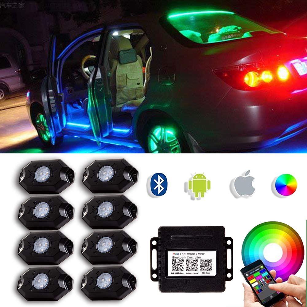 OCPTY LED Truck Bed Light Kit Waterproof Offroad Rock Lights With Wireless Remote Bluetooth Controller Color Flexible Universal Neon Lights fit for Pickup Truck RV SUV Boats Unloading Cargo Area 8pod