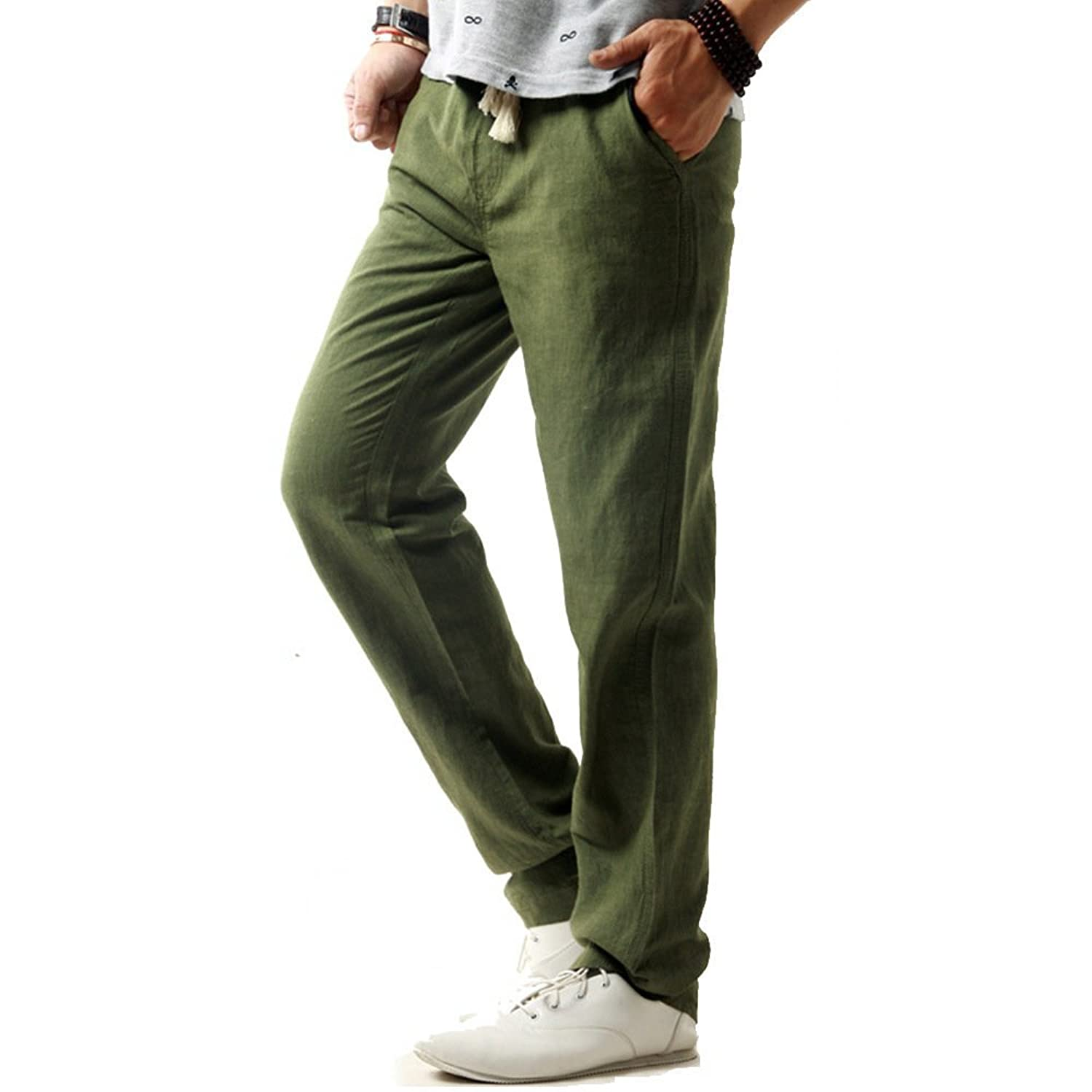 Nuosende Men's Pure Color Linen Casual Summer Pant Green
