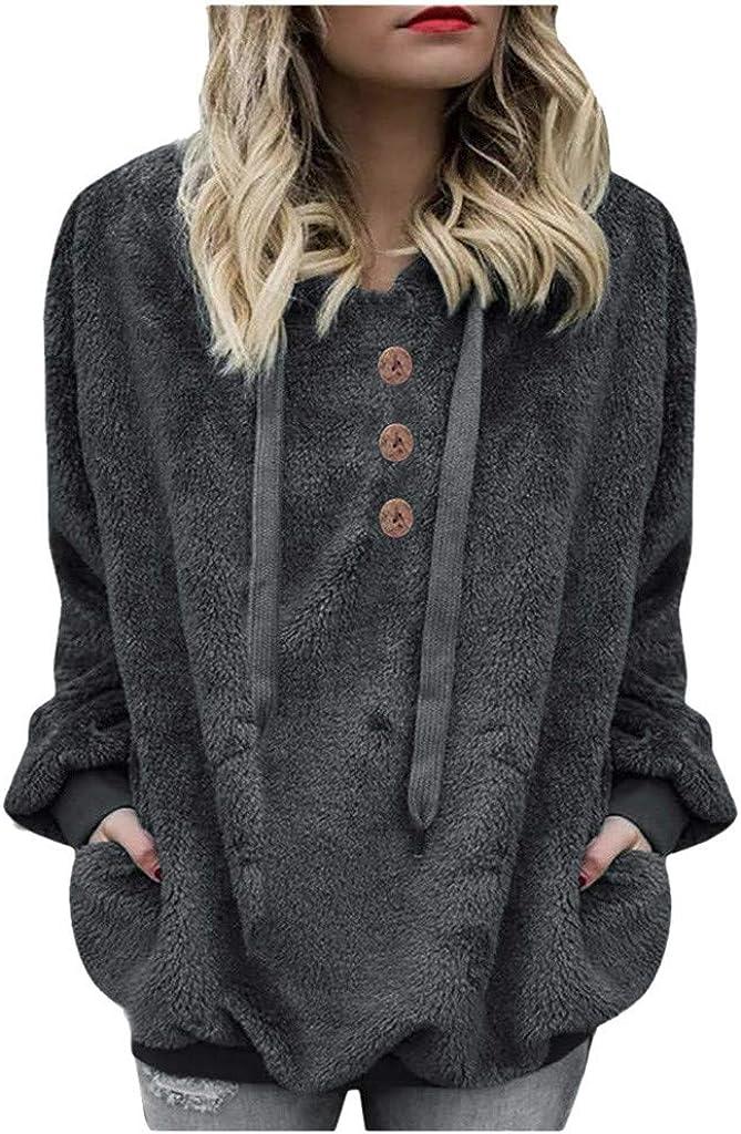 QIMANZI Kapuzenpullover Damen Teddy-Fleece Hoodie Sweatshirt Herbst Winter Mode Flauschig Oberteil Langarmshirt Pullover Tops mit Kapuze