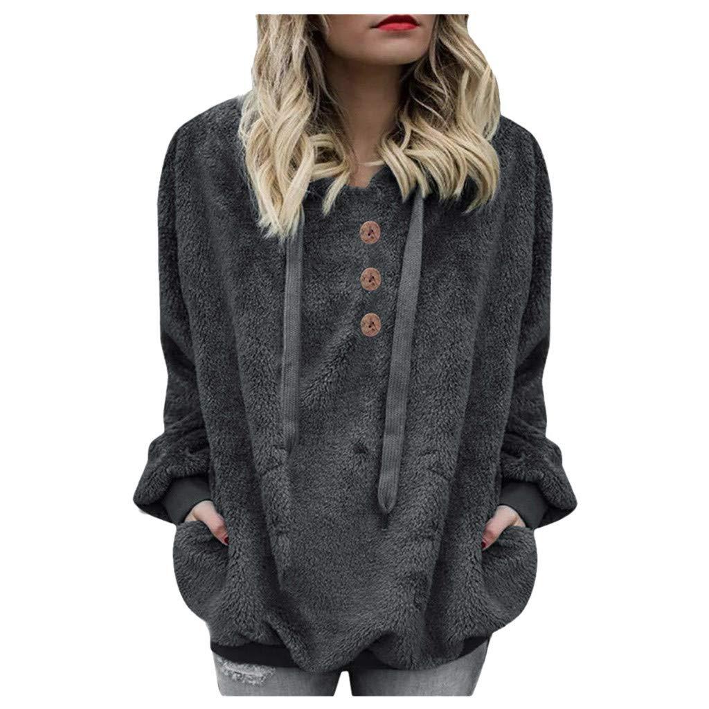 Shusuen Winter 2019 Fashion Womens Fuzzy Casual Loose Sweatshirt Hooded with Pockets Outwear by Shusuen