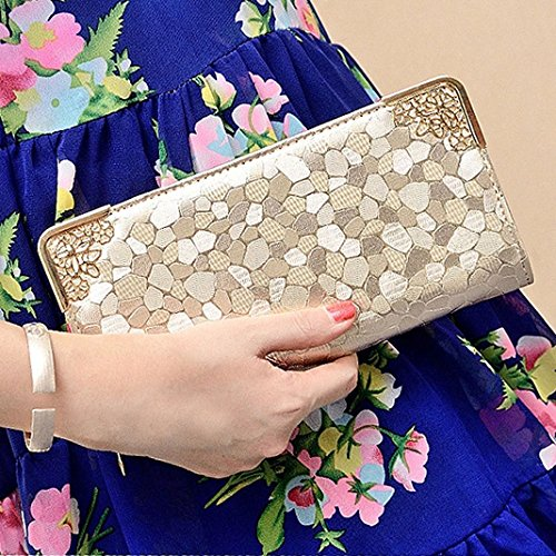 Mujer Carteras Cuero PU Leather tarjeta Carteras y monederos Piel Bolso Billetera Card Holders de gran capacidad cuero de la cartera Solido Simple Cremallera Multi Card Organizador mano y clutches Oro