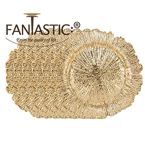 FANTASTIC :)  Round 13 Inch Plastic Charger Plates with Eletroplating Finish (6, Reef Gold) by FANTASTIC :) (Image #3)