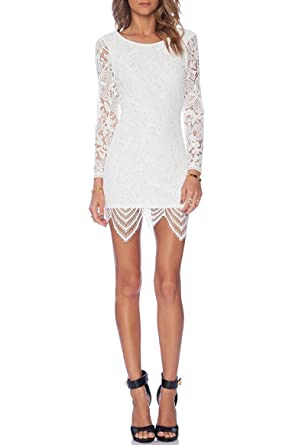 4ad281f9a54 Womens White Lace Overlay Open Back Bodycon Dress: Amazon.co.uk ...