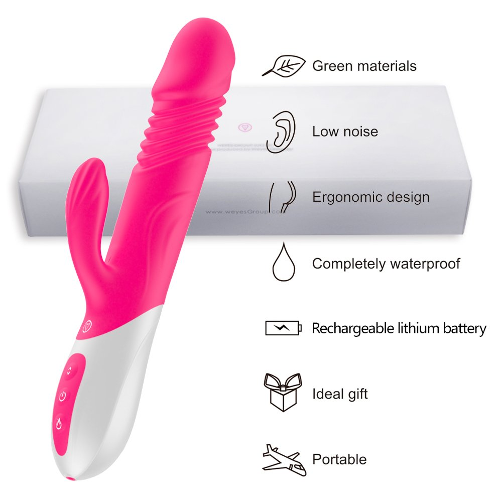 Heating Rabbit Vibrator with 10 Frequency and 3 Strong Telescopic Vibrating G-spot Rabbit Vibrator/Vagina Vibrator/Clit Stimulator Wand for Women (Pink)