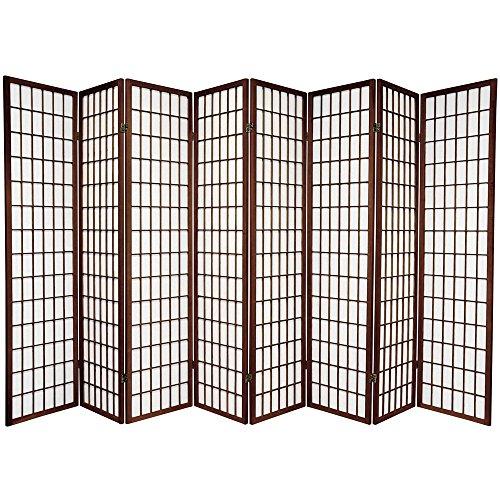 Oriental Furniture 6 ft. Tall Window Pane Shoji Screen - Walnut - 8 Panels by ORIENTAL FURNITURE