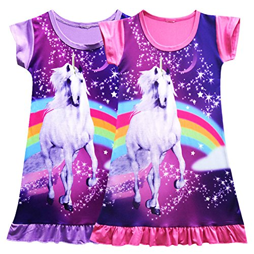 Girls Unicorn Nightgown Sleep Shirts Printed Star Rainbow Nightshirt Casual Nightie Princess Night Dresses