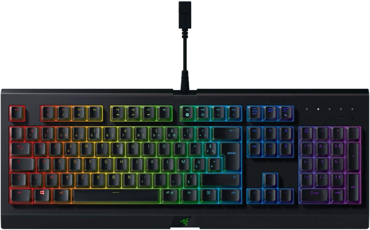 Razer Cynosa Chroma - Teclado Gaming con iluminación Razer Chroma con LED RGB, USB, Alámbrico, 16,8 millones de opciones de color personalizables, DE Layout, Negro