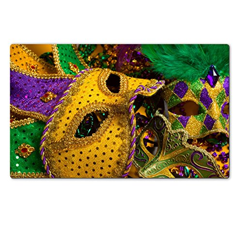 [Luxlady Natural Rubber Large TableMat IMAGE ID: 25892133 A festive colorful group of mardi gras or carnivale masks on a yellow background Venetian] (Mardi Gras Masks Template)