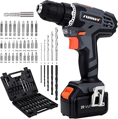 Cordless Drill, 20V MAX Lithium-Ion Electric Driver Set, Power Drill with 3 8 inches Keyless Chuck, Max Torque 22N.m, Single Speed 700RPM, 40Pcs Bits Home Tool Kit in Storage for Drilling Wood, Metal