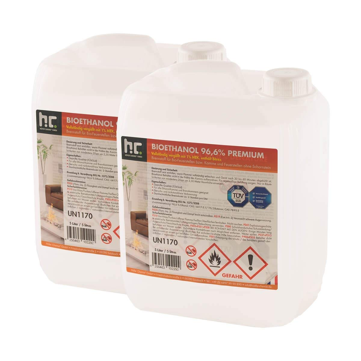 Bio Ethanol Fuel Golden Fire Premium Grade Quality, Clean Burn 5L Containers (15L) B2C