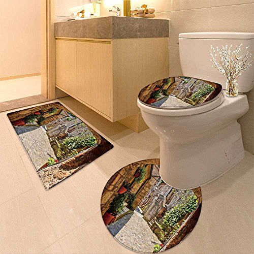 3 Piece Toilet mat set Arched cobblestone street in a Tuscan village Textures Non-Slip Bathroom Mats Contour Toilet Cover Rug Collection Cobblestone Three Light Fixture