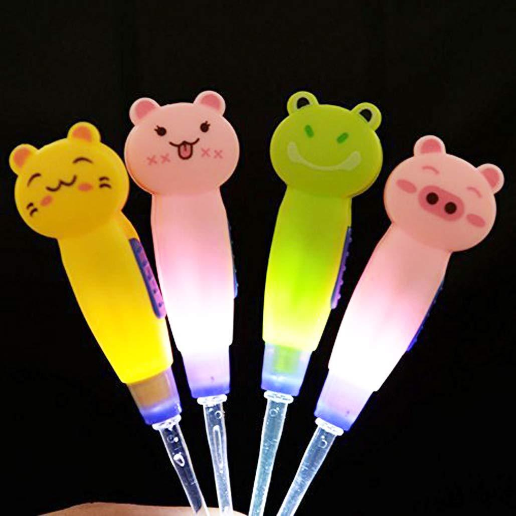 4 Pcs Kids Baby Safe LED Lighting Ear Pick Spoon Earwax Curette Tweezer Ear Spoon Remover Cleaning Tool
