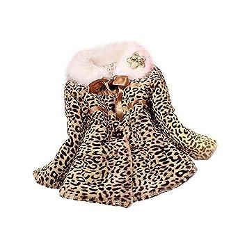 Per Abrigos Niñas Bebés Invierno Chaquetas de Pelo SIntético Patrón de Leopardo de Moda Abrigos Niñas
