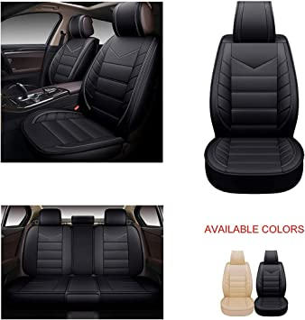OASIS AUTO OS-003 Leather Car Seat Covers TAN, Style 1 Faux Leatherette Automotive Vehicle Cushion Cover for Cars SUV Pick-up Truck Universal Fit Set for Auto Interior Accessories