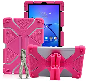 """Golden Sheeps Shockproof Silicone Protective Stand Universal 10 inch Tablet Case Compatible for Apple iPad Pro 11-inch,New iPad 2018, Lenovo Tab 4, 10.1"""",Samsung Tab S4 10.5"""", Tab A 10.5""""-Pink"""