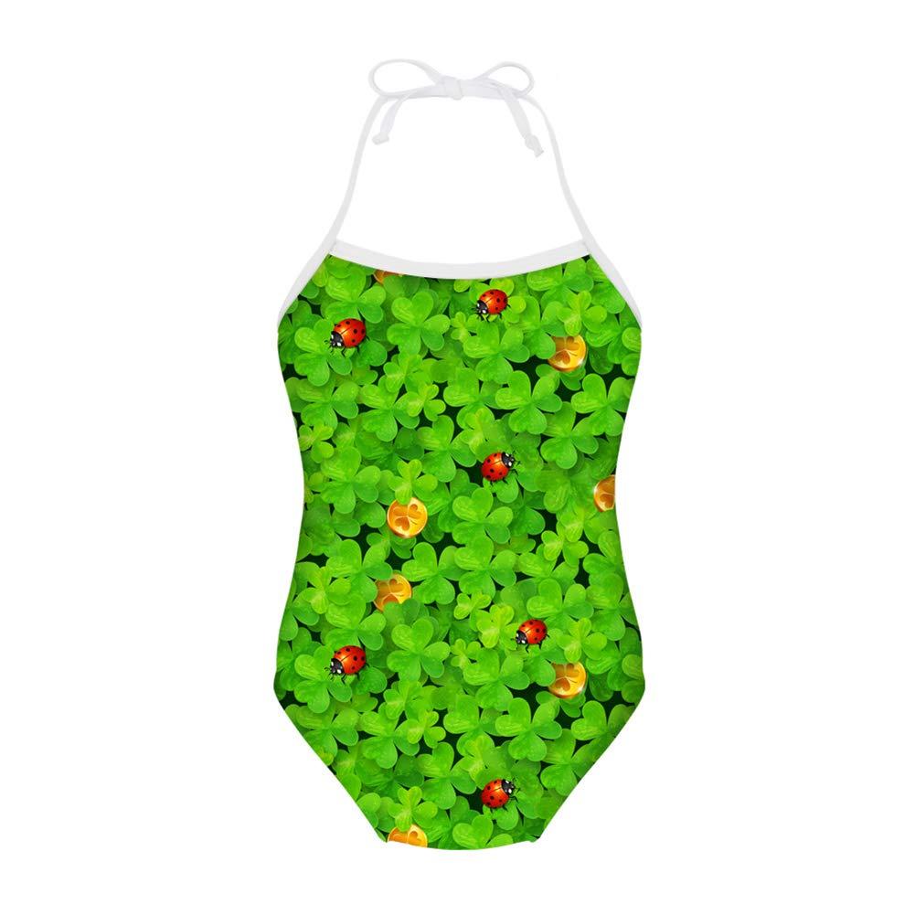 FUIBENG Cartoon Ladybird Print Girl One-Piece Swimwear Bathing Suit Kid Bikini