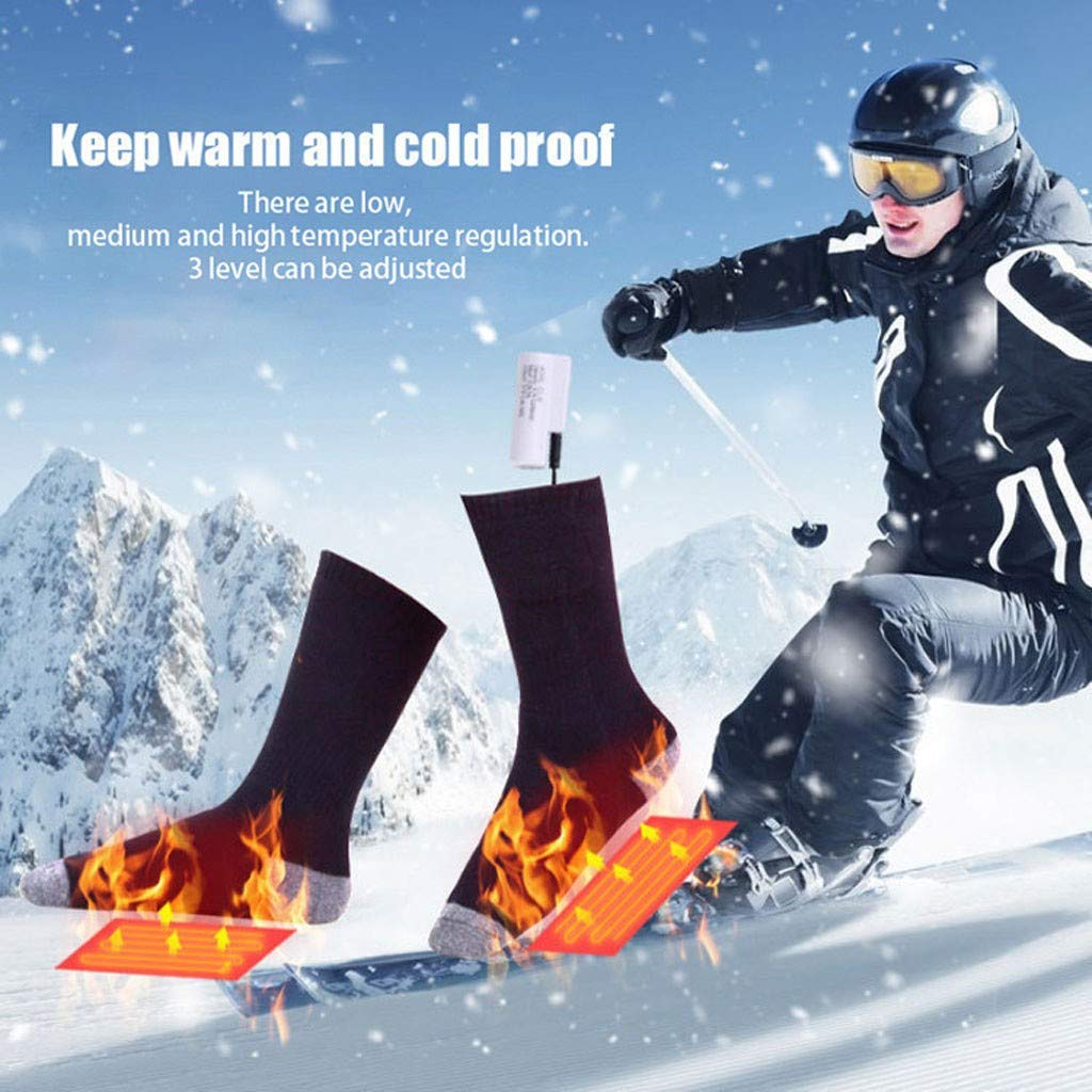 Electric Heated Socks, USB Rechargeable Battery Heating Socks for Men Women, Cold Weather Warm Thermal Foot Warmer for Winter Ski Hunting Camping Hiking Cycling Motorcycling Warm Cotton Socks (Black) by FunDiscount shop