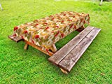 Ambesonne Asian Outdoor Tablecloth, Japanese Koi Fishes Swimming with Lotus Flowers Zen Yoga Meditation Boho Pattern, Decorative Washable Picnic Table Cloth, 58 X 120 inches, Multicolor