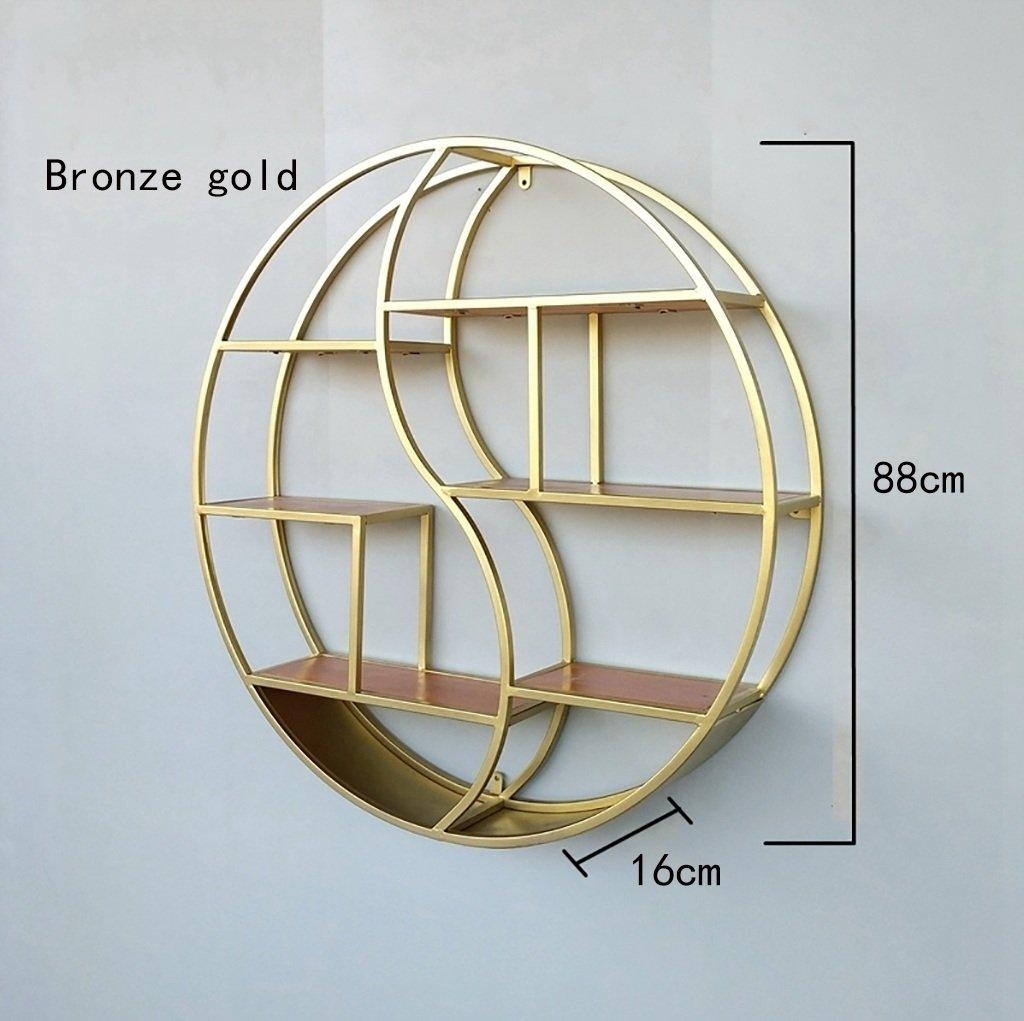 壁掛け鍛造棚、レトロ創造木製本棚、仕切り壁装飾棚、ラウンドディスプレイスタンド88 * 16cm (色 : ゴールド) B07MBF7J2Z ゴールド