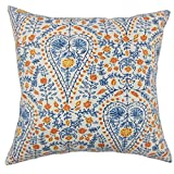 The Pillow Collection Jaetyn Ikat Blue Down Filled Throw Pillow
