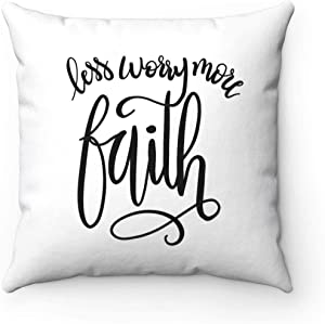 FabricMCC Throw Pillow Cover Quote Words Square Decorative Canvas Cushion Cover Throw Pillowcase for Couch (20x20, Less Worry More Faith)